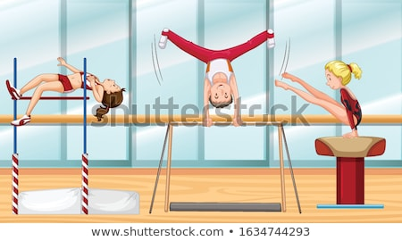 Sahne üç jimnastik örnek manzara Stok fotoğraf © bluering
