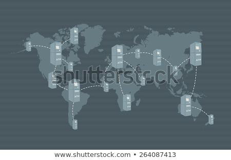 Caixa eletrônico rede mapa do mundo lata cartão Foto stock © ShustrikS