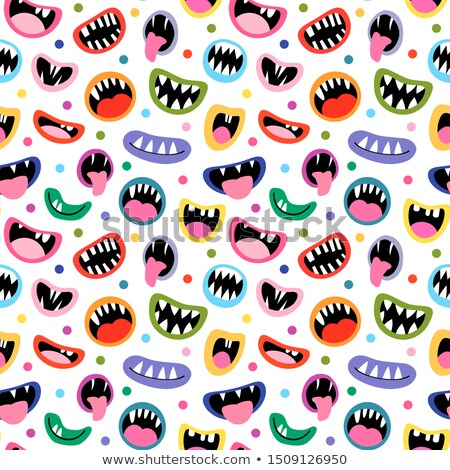 Funny Vector Seamless Pattern With Colorful Monster Mouths Open And Closed With Tongues And Teeth Stockfoto © Pravokrugulnik