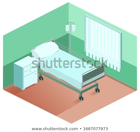 Hospital ward bed, bedside table, dropper. Medical equipment 3d isometric Stock photo © orensila