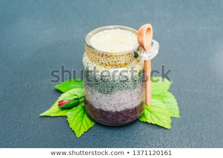 Zdrowych deser odżywianie pudding szkła jar Zdjęcia stock © vkstudio