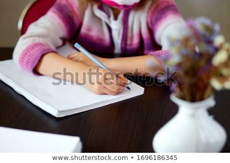 Irreconocible nina deberes escrito educación coronavirus Foto stock © Illia