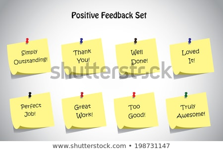 write the words good work on a yellow sticky note stock photo © johnkwan