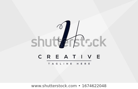 Hand drawn monogram template with letter H.  Stock photo © ShustrikS
