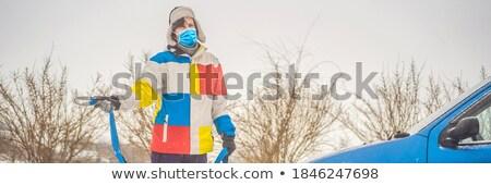 Man with towing rope hooks near towed car BANNER, LONG FORMAT Stock photo © galitskaya