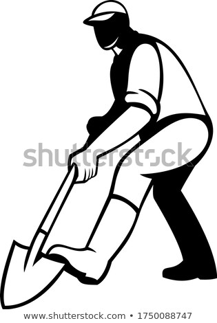 Tuinman spade schop retro zwart wit illustratie Stockfoto © patrimonio