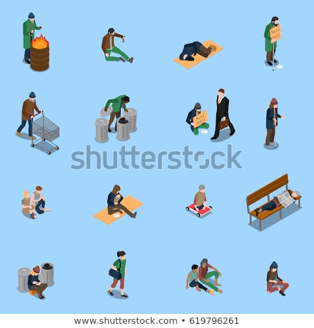 Homeless Beggar People Isometric Icons Set Vector Stock photo © pikepicture
