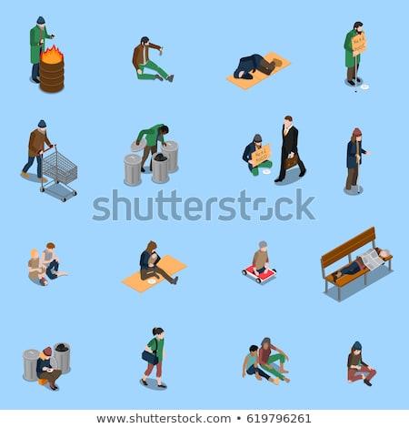 Daklozen bedelaar mensen isometrische vector Stockfoto © pikepicture