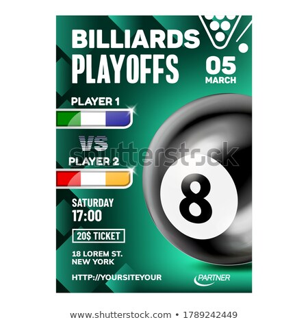 Billiards Hit And Aiming Ball Game Poster Vector Stock photo © pikepicture