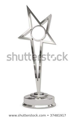 Silver or platinum star prize on pedestal with blank round plate Stock photo © oneo