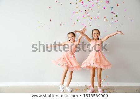 Gemelo hermanas bebé jugando swing otono Foto stock © Yaruta