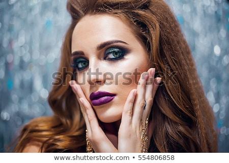 Sexy jonge vrouw groene ogen Geel zachte focus Stockfoto © aladin66