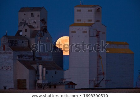 full moon and grain elevator stock photo © pictureguy