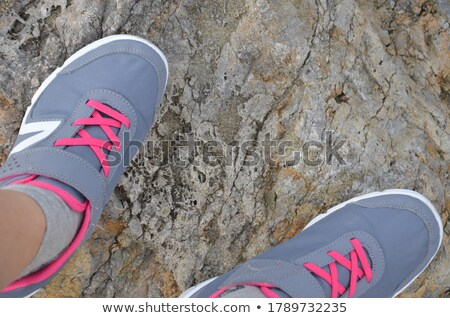 conceptual photo of a woman climbing to the top of a mountain stock photo © konradbak