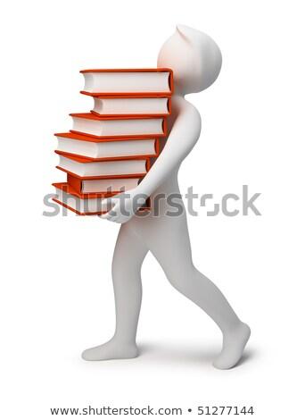 3d people - bearing books stock photo © AnatolyM