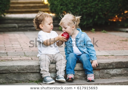 young pretty girl loves apples Stock photo © manzrussali