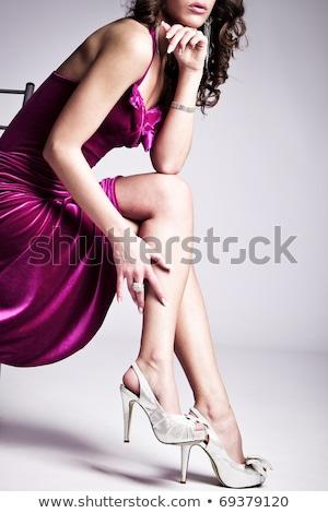 Hosszú lábak magassarkú kettő modellek pózol izolált Stock fotó © yurok