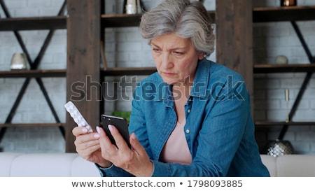 Idős nő ház boldog otthon sétál fej Stock fotó © photography33