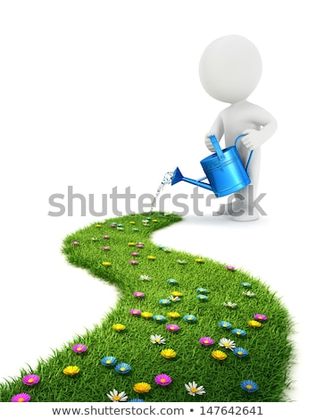 3d small people   grassy road stock photo © anatolym
