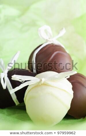 Házi húsvét csoport tojás alakú íj Stock fotó © frannyanne