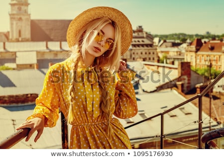 Blonde Woman Wearing Glasses in the City Lights Stock photo © feverpitch