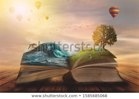 nyitott · könyv · kék · ég · fehér · felület · felhők · iskola - stock fotó © vlad_star