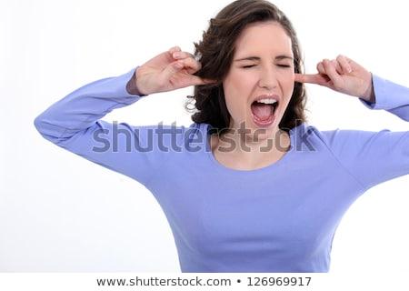 vrouw · vingers · oren · foto · stress · hoofd - stockfoto © photography33