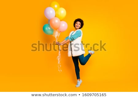 gülen · mutlu · genç · kadın · turkuaz · yelek · beyaz - stok fotoğraf © CandyboxPhoto