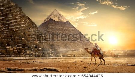 nagyszerű · piramisok · Egyiptom · Giza · Kairó · égbolt - stock fotó © aikon