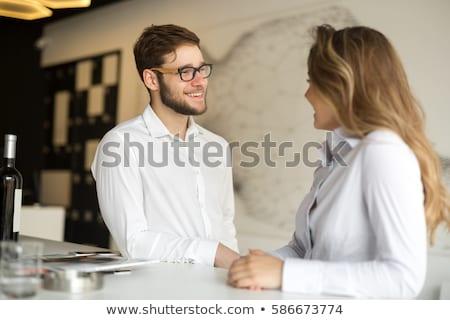Kettő flörtöl szeretet férfi megbeszélés boldog Stock fotó © photography33