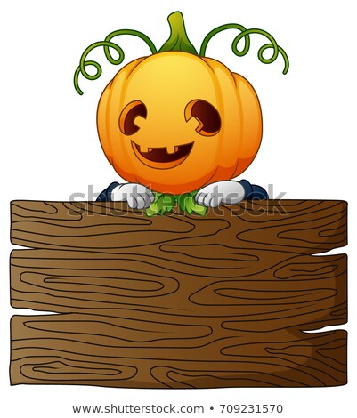Happy Harvest Scarecrow Holding a Sign Cartoon Vector Illustrati Stock photo © chromaco
