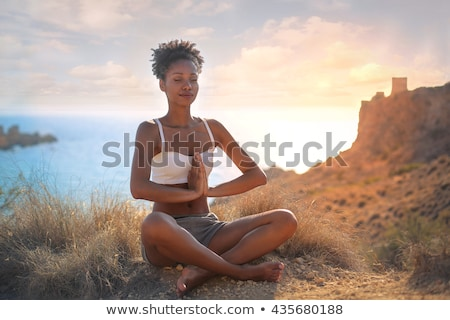 kadın · yoga · plaj · spor · manzara · genç - stok fotoğraf © juniart