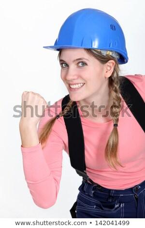 Buzgó női építész nő energia fogak Stock fotó © photography33