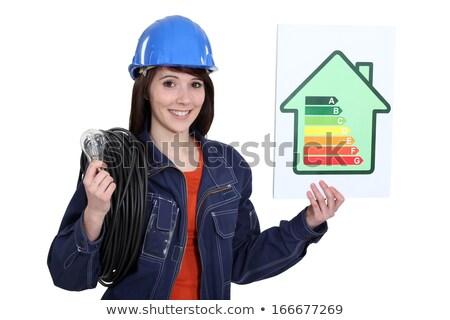 feminino · eletricista · mulher · mão · trabalhar · cabo - foto stock © photography33