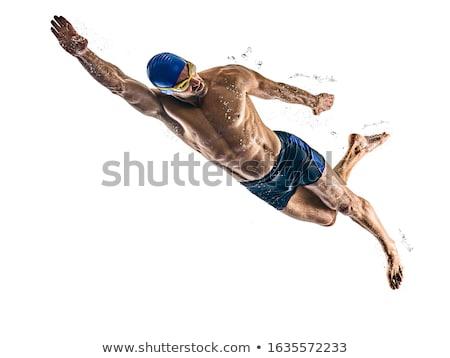 ストックフォト: スイマー · 幸せ · 筋肉の · 着用 · 眼鏡 · キャップ