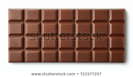 chocolate · morena · vestido · branco · sorridente · mulher - foto stock © carlodapino