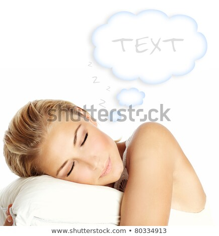 Portrait of the young beauty woman lays on pillow. Isolated Stock photo © acidgrey