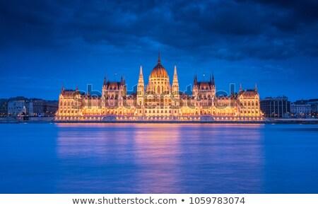 Húngaro parlamento noite Budapeste pormenor edifício Foto stock © samsem