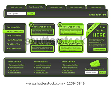 Set of website elements with top menu, side menu, banners and footer Stock photo © liliwhite