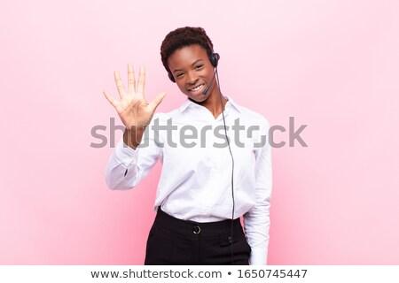 jovem · feliz · mulher · chamada · assinar - foto stock © rosipro