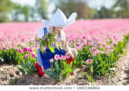 Little girl tulipa flores jardim grama natureza Foto stock © goce