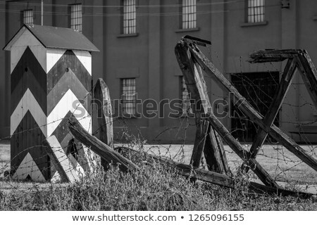 Dikenli tel kamp Sırbistan barikat çit konsantrasyon Stok fotoğraf © dinozzaver