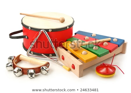 mixed percussion toy instruments on red Stock photo © lunamarina
