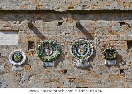 Detail of the Palazzo dei Priori, Volterra, Tuscany, Italy Stock photo © anshar