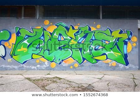 sokak · duvar · yazısı · renkli · sprey · boyalı · tuğla · duvar - stok fotoğraf © arenacreative