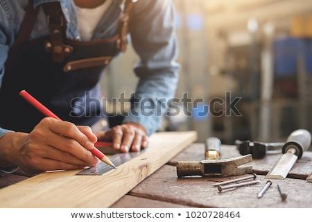 Charpentier travaux vêtements bois planche homme Photo stock © vector1515