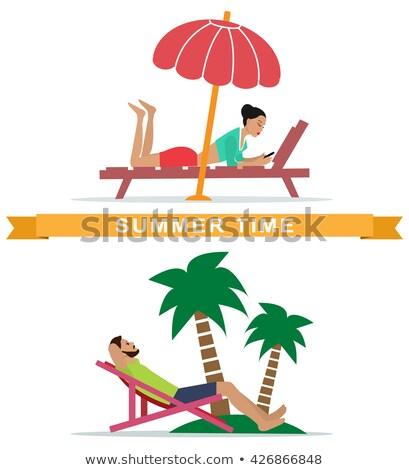 набор · стульев · солнце · пляж · иллюстрация - Сток-фото © yurkina