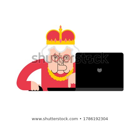 Black Monitor And Gold Crown Stock foto © MaryValery