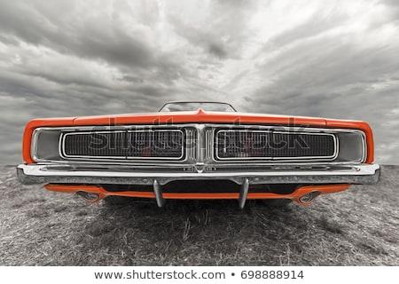 マッスルカー · アメリカン · 道路 · 赤 · 水平な - ストックフォト © stokkete