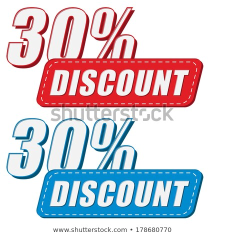 30 percentages discount in two colors labels, flat design Stock photo © marinini